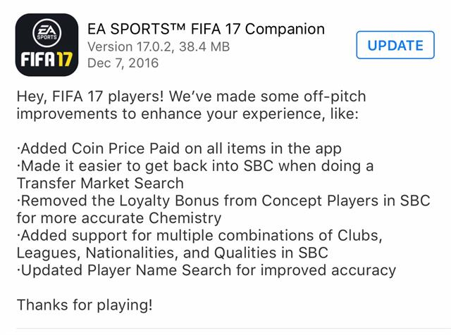 FIFA 17 Companion App Updated to Improve Experience