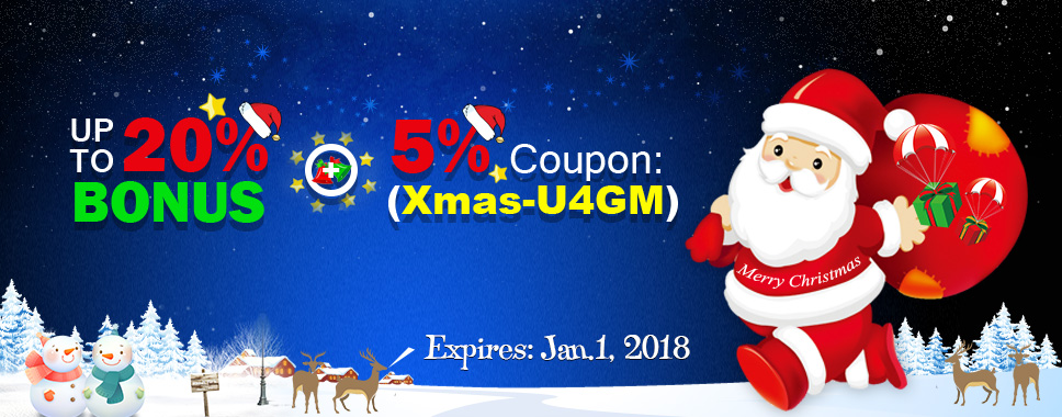 Merry Christmas - Not Only Up to 20% Bonus But 5% Coupon at U4GM