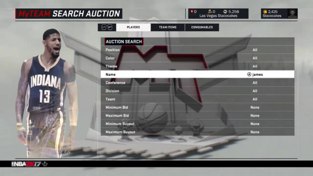 NBA 2K17 Auction House