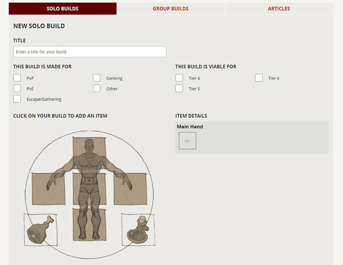 New Albion Online Tool For Builds - The Character Builder