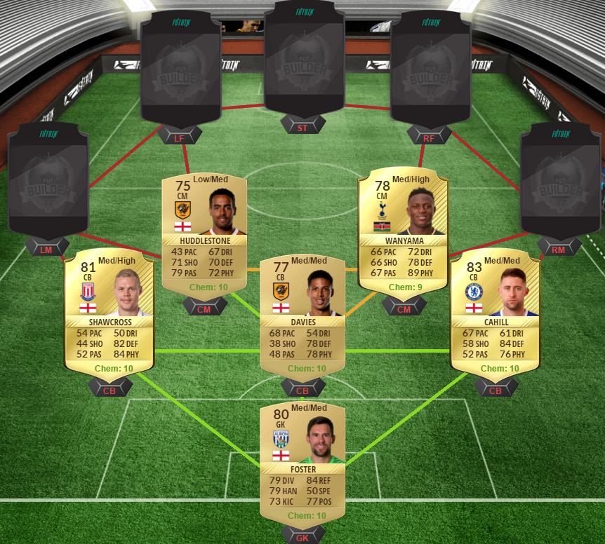 FIFA 17 Chelsea v Spurs squad